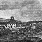 3. Rudolfov na počátku 19. století na akvarelu dělostřeleckého zbrojmistra Konráda. (převzato Václav Ambrož, Rudolfov, 1927)