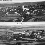 4. Nejstarší pohlednice Rudolfova pochází ze začátku 90. let 19. století. Aby se celé panorama vešlo na pohlednici, musel je autor rozdělit na dvě části. Vše je i tak velice titěrné, ale pozorný čtenář si všimne, že zámeček má ještě na vrcholu střechy tzv. lucernu (vestavbu zajišťující vstup světla do budovy) a na místě dnešního hostince U Štítu jsou původní měšťanské domy se štíty do ulice. Stejné domy vidíme vedle sebe i v údolí Královského rybníka. Logicky chybí obě školní budovy, v krajině naopak dominují dělostřelecká skladiště. (Autor fotografie neznámý, sbírka Jan Řehovský).